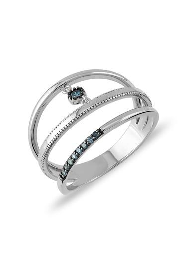 Piano Jewellery Cabaret Linked Mavi Pırlanta Yüzük 14 Ayar Gümüş